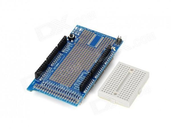 Arduino Mega Prototype Shield V3 with Mini Breadboard